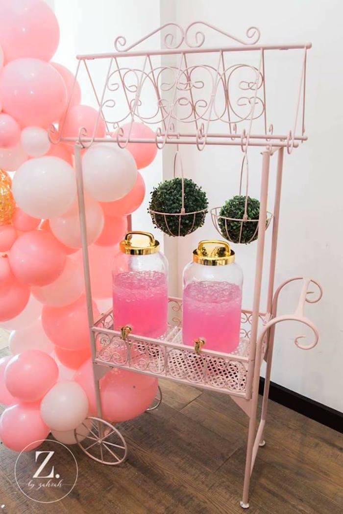 Beverage cart from a High Tea Birthday Party on Kara's Party Ideas | KarasPartyIdeas.com (10)