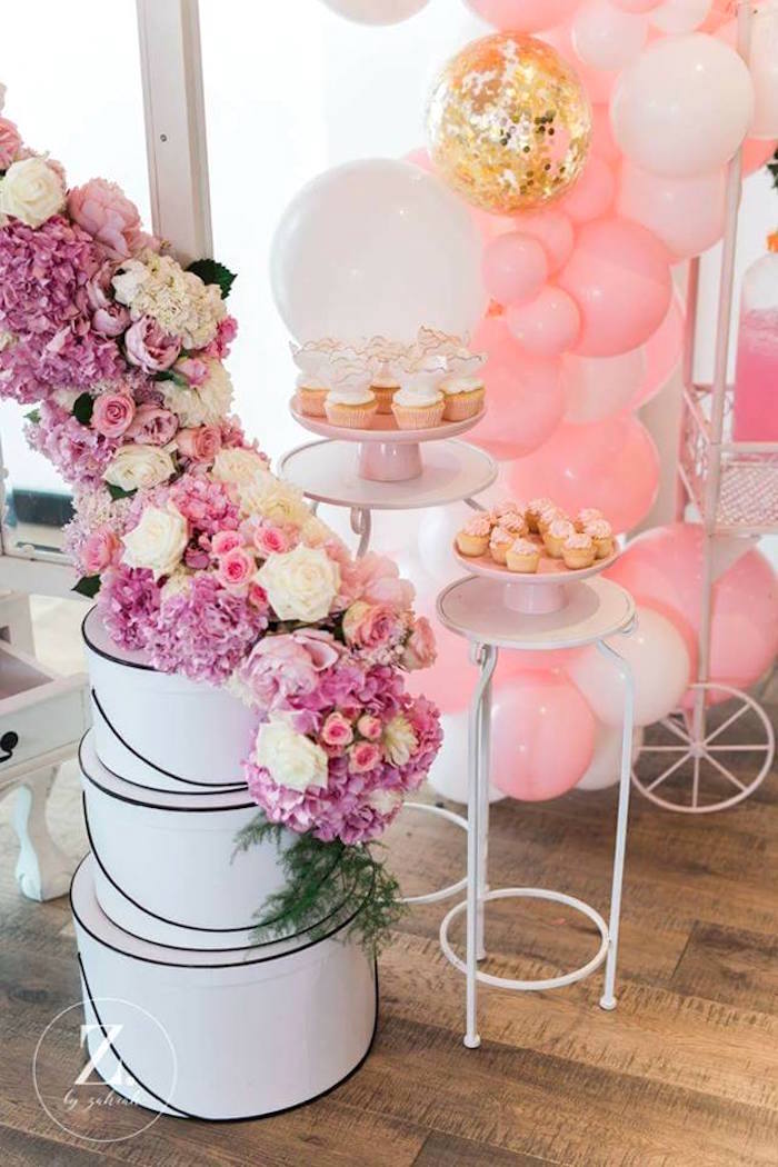 Pedestal dessert tables from a High Tea Birthday Party on Kara's Party Ideas | KarasPartyIdeas.com (9)