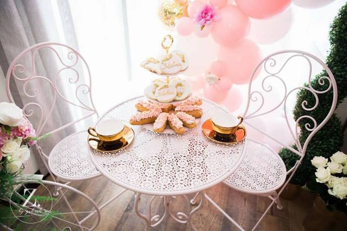 Tea Table from a High Tea Birthday Party on Kara's Party Ideas | KarasPartyIdeas.com (4)