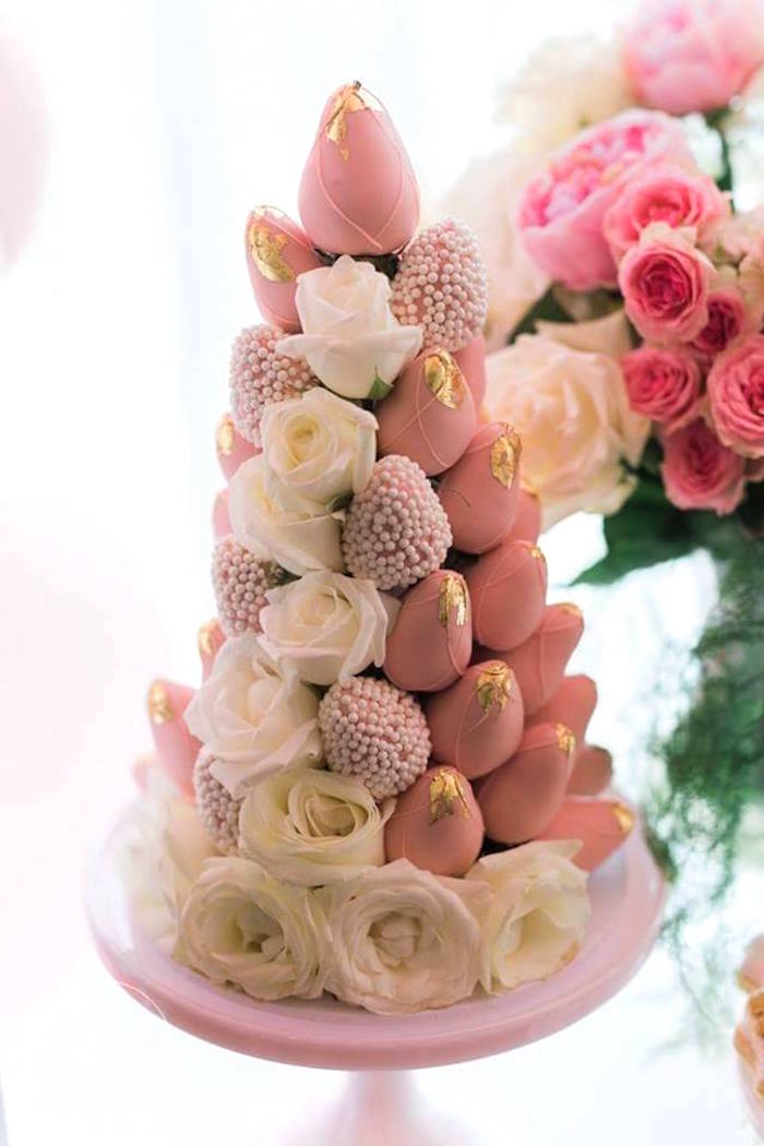 Strawberry tower from a High Tea Birthday Party on Kara's Party Ideas | KarasPartyIdeas.com (19)