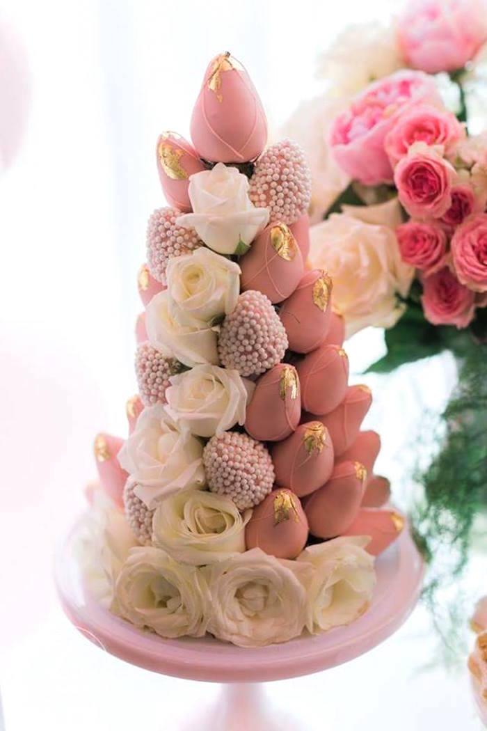 Strawberry tower from a High Tea Birthday Party on Kara's Party Ideas | KarasPartyIdeas.com (19)