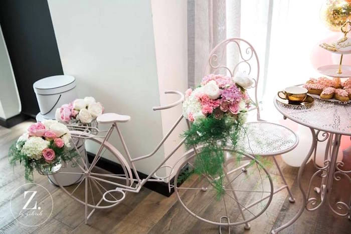 Vintage bicycle decoration from a High Tea Birthday Party on Kara's Party Ideas | KarasPartyIdeas.com (18)