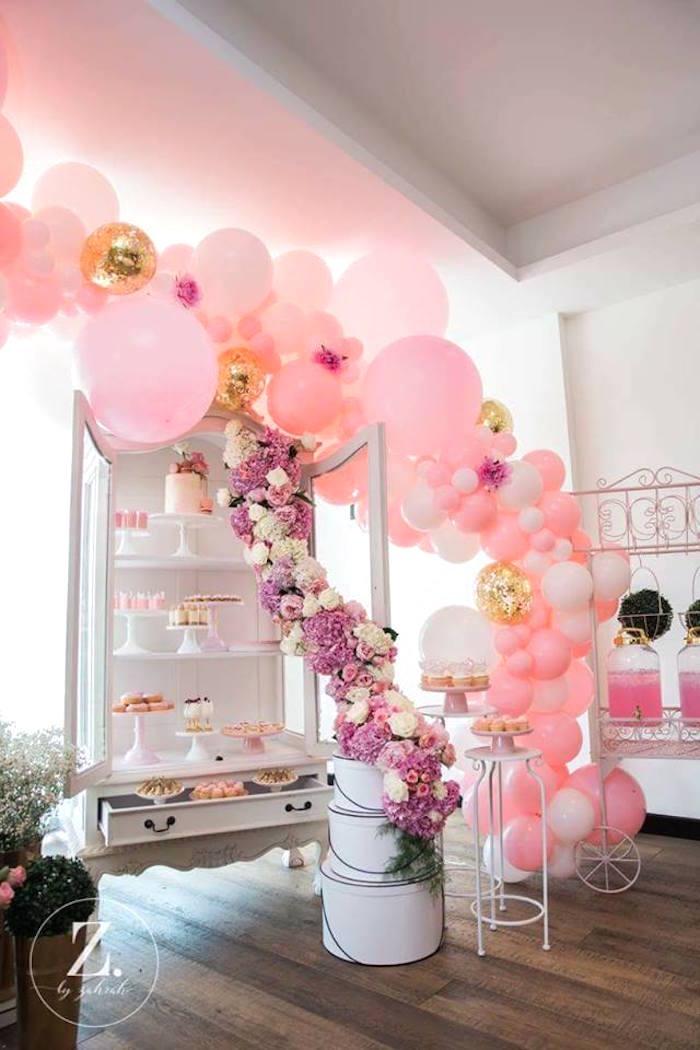Balloon-arched dessert table from a High Tea Birthday Party on Kara's Party Ideas | KarasPartyIdeas.com (17)