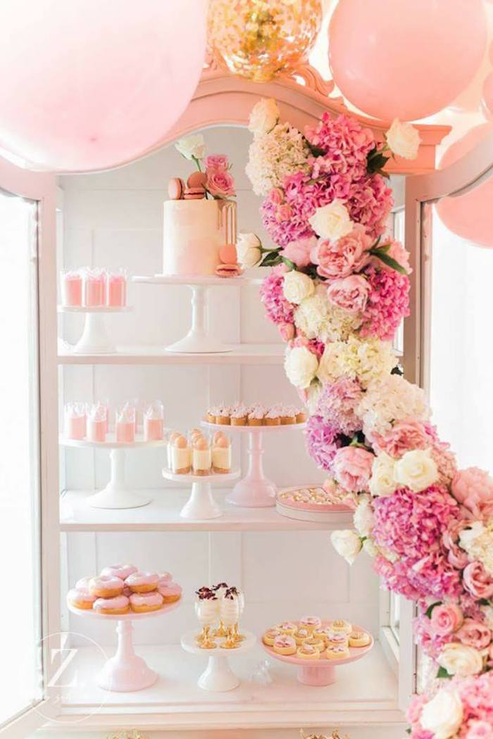 Pink & white dessert spread from a High Tea Birthday Party on Kara's Party Ideas | KarasPartyIdeas.com (15)