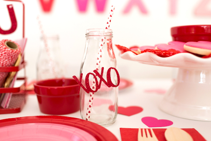 XOXO Milk Bottle from an I Heart You Valentine's Party on Kara's Party Ideas | KarasPartyIdeas.com (3)