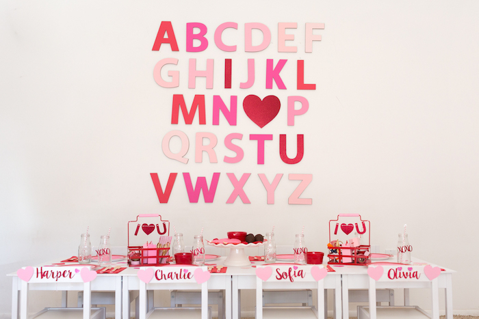 Valentine's Party Table from an I Heart You Valentine's Party on Kara's Party Ideas | KarasPartyIdeas.com (13)