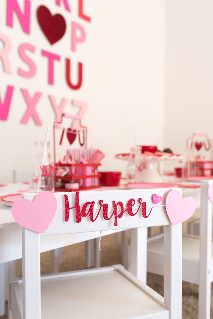 Custom name chair banner from an I Heart You Valentine's Party on Kara's Party Ideas | KarasPartyIdeas.com (11)