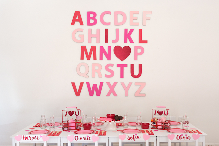 Valentine Party Table from an I Heart You Valentine's Party on Kara's Party Ideas | KarasPartyIdeas.com (8)