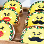 Taco Sugar Cookies with Lips for the girl taco and mustache for boy taco