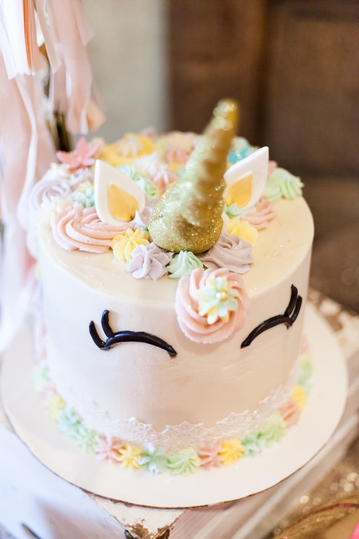 Unicorn Cake from a Magical Unicorn Baby Shower on Kara's Party Ideas | KarasPartyIdeas.com (16)