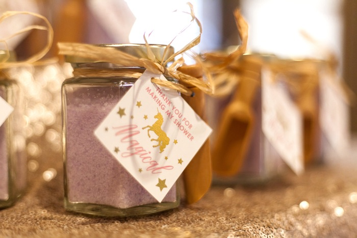Bath salt favor jar from a Magical Unicorn Baby Shower on Kara's Party Ideas | KarasPartyIdeas.com (26)