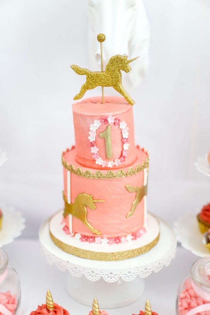 Unicorn cake from a Magical Unicorn Birthday Party on Kara's Party Ideas | KarasPartyIdeas.com (8)