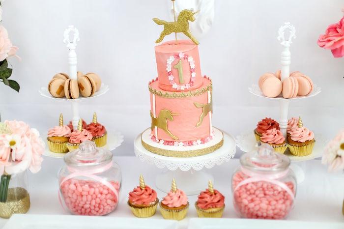 Cake table from a Magical Unicorn Birthday Party on Kara's Party Ideas | KarasPartyIdeas.com (5)