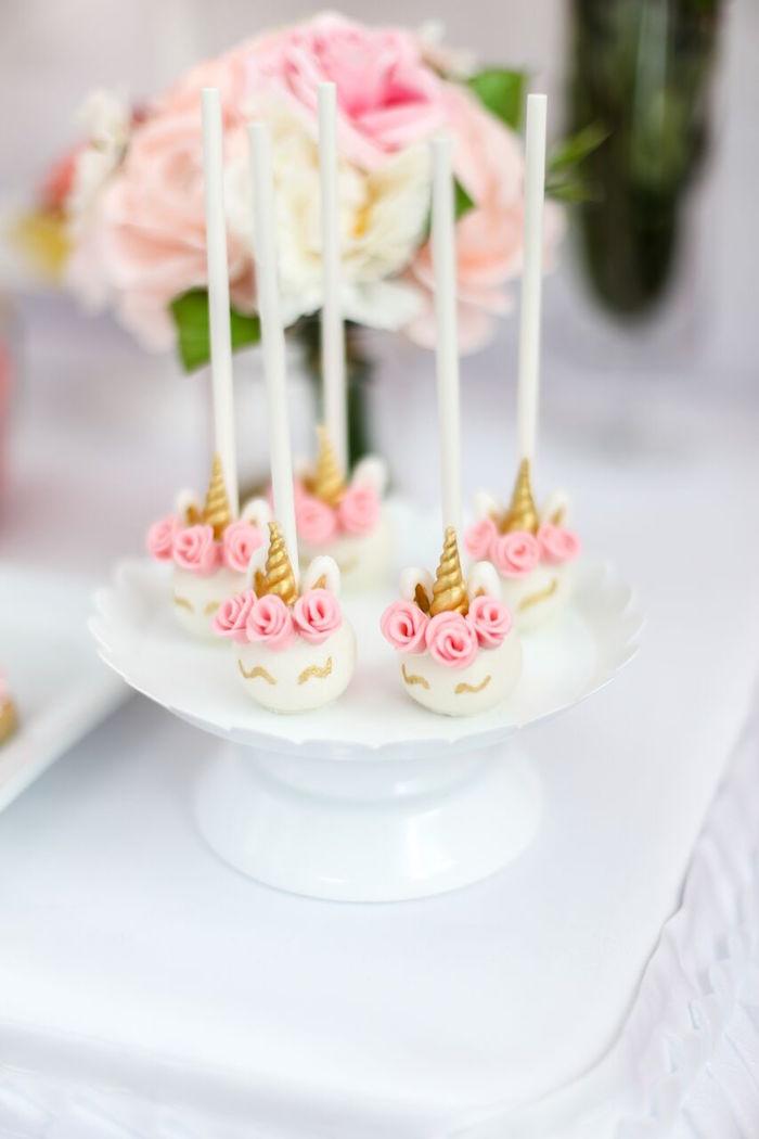 Unicorn cake pops from a Magical Unicorn Birthday Party on Kara's Party Ideas | KarasPartyIdeas.com (16)