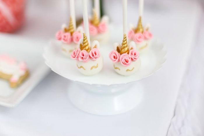 Unicorn cake pops from a Magical Unicorn Birthday Party on Kara's Party Ideas | KarasPartyIdeas.com (15)