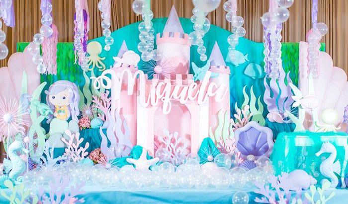 Mermaid Castle Backdrop From A Majestic Under The Sea Birthday Party On Karas Ideas