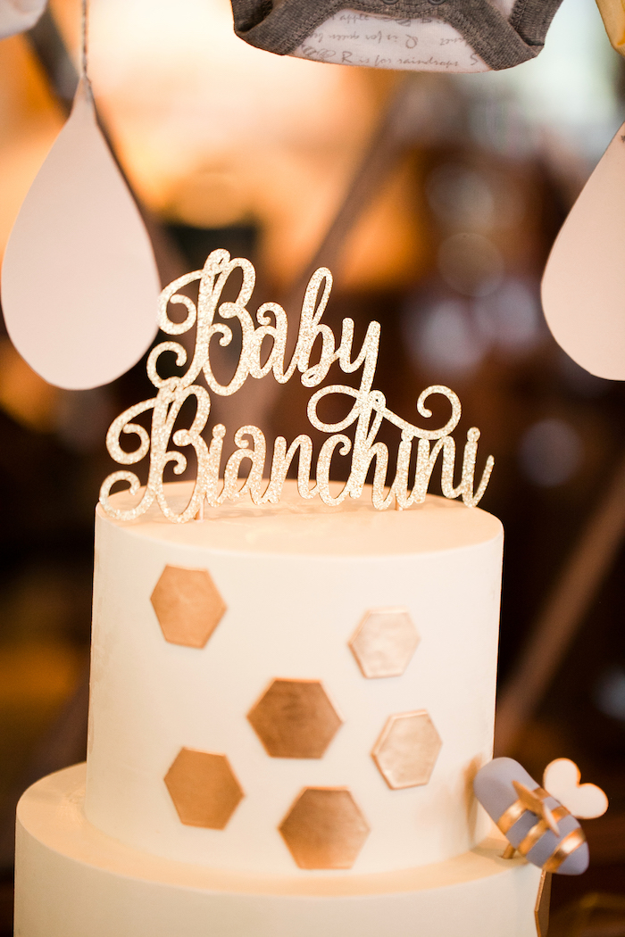 Glam honeycomb cake from a Mama to BEE Baby Shower on Kara's Party Ideas | KarasPartyIdeas.com (13)