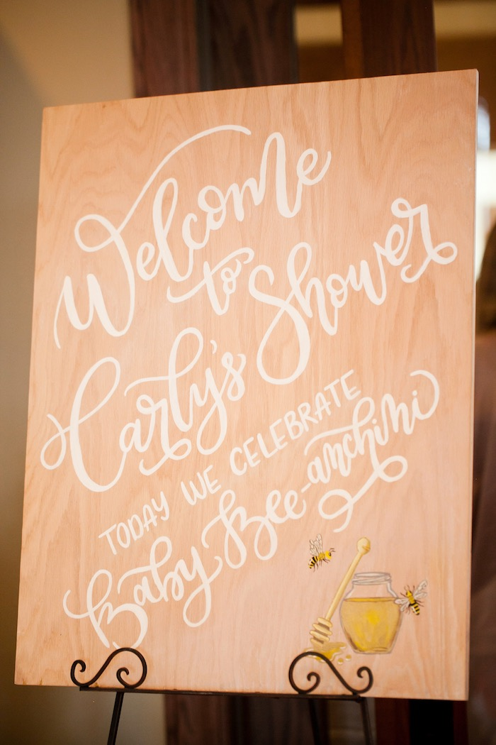 Wood welcome sign with calligraphy lettering from a Mama to BEE Baby Shower on Kara's Party Ideas | KarasPartyIdeas.com (7)