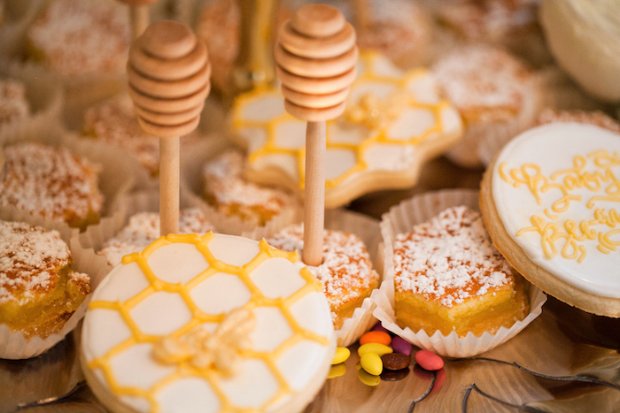 Honeycomb cookies from a Mama to BEE Baby Shower on Kara's Party Ideas | KarasPartyIdeas.com (6)