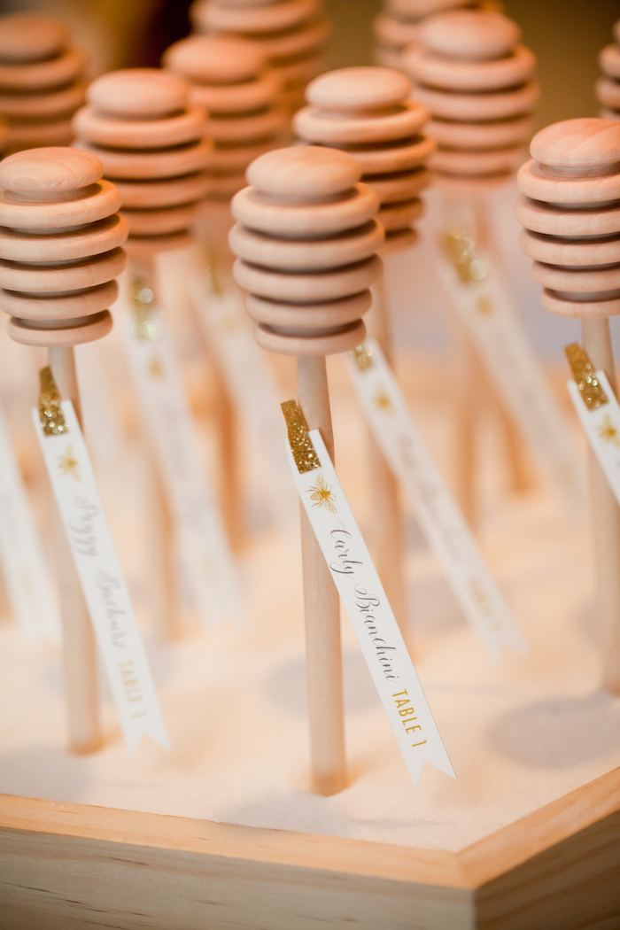 Honey dipper escort cards from a Mama to BEE Baby Shower on Kara's Party Ideas | KarasPartyIdeas.com (21)