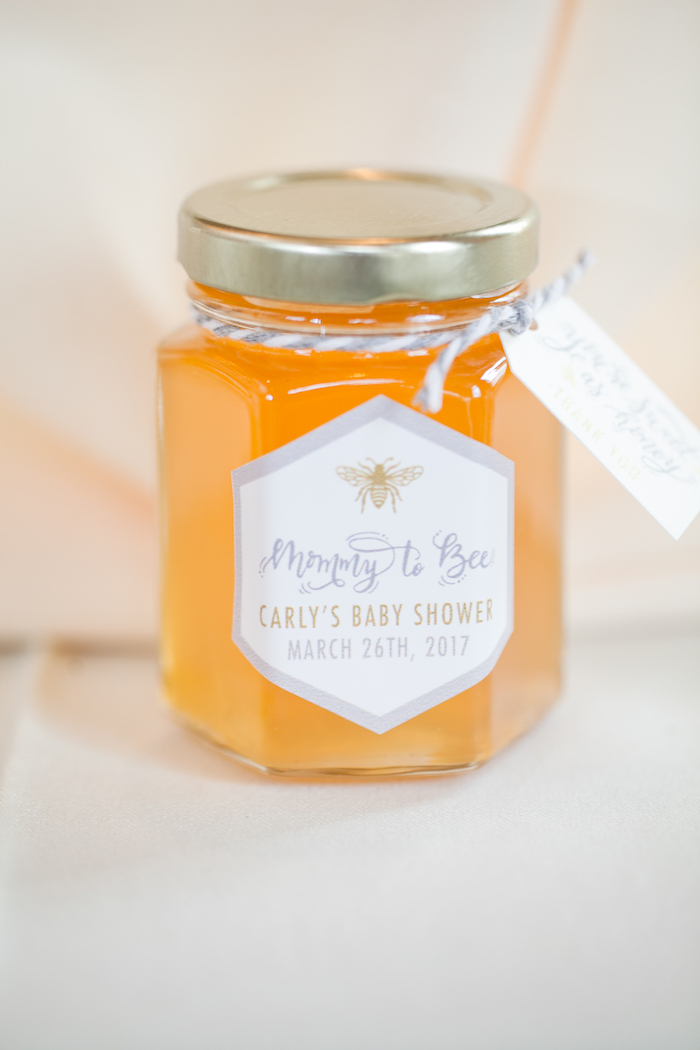 Honey jar favor from a Mama to BEE Baby Shower on Kara's Party Ideas | KarasPartyIdeas.com (16)