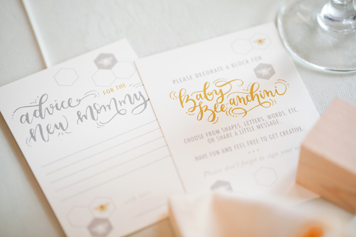 Stationery from a Mama to BEE Baby Shower on Kara's Party Ideas | KarasPartyIdeas.com (15)