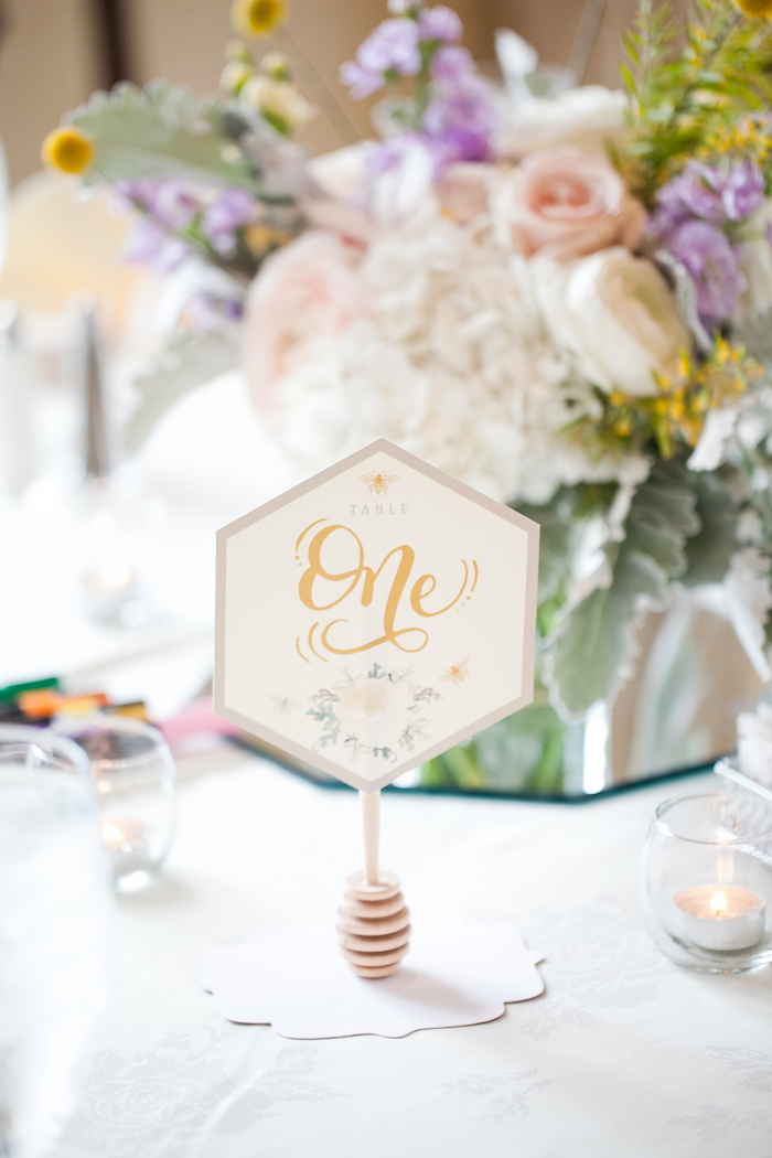 Honeycomb table number with honey dipper holder from a Mama to BEE Baby Shower on Kara's Party Ideas | KarasPartyIdeas.com (14)