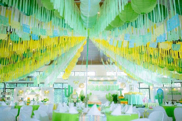 Guest tables + party spread from a Mexican Birthday Fiesta on Kara's Party Ideas | KarasPartyIdeas.com (15)
