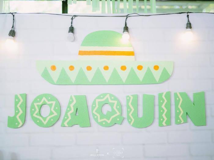 Sombrero backdrop from a Mexican Birthday Fiesta on Kara's Party Ideas | KarasPartyIdeas.com (13)