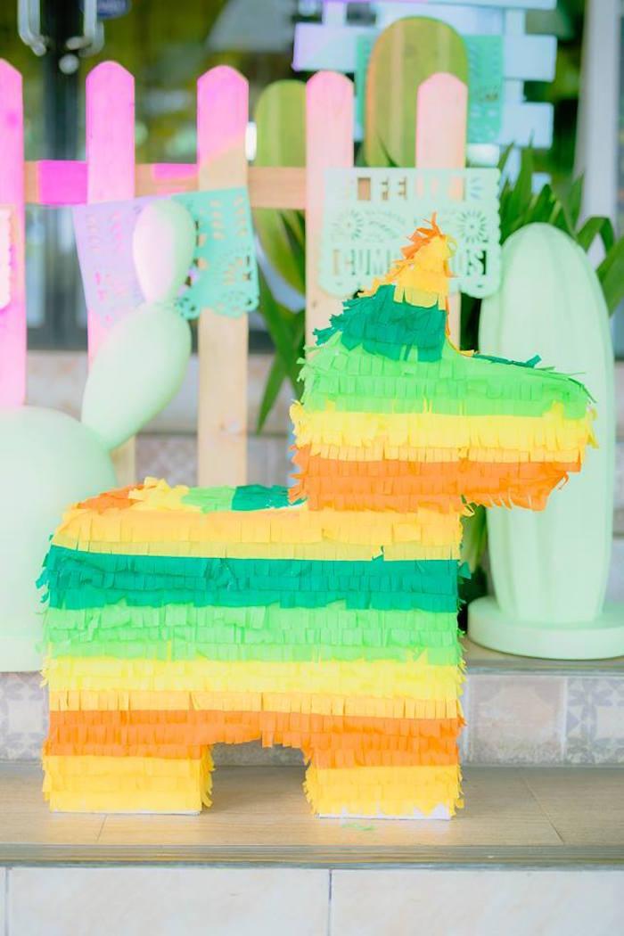 Striped donkey pinata from a Mexican Birthday Fiesta on Kara's Party Ideas | KarasPartyIdeas.com (8)