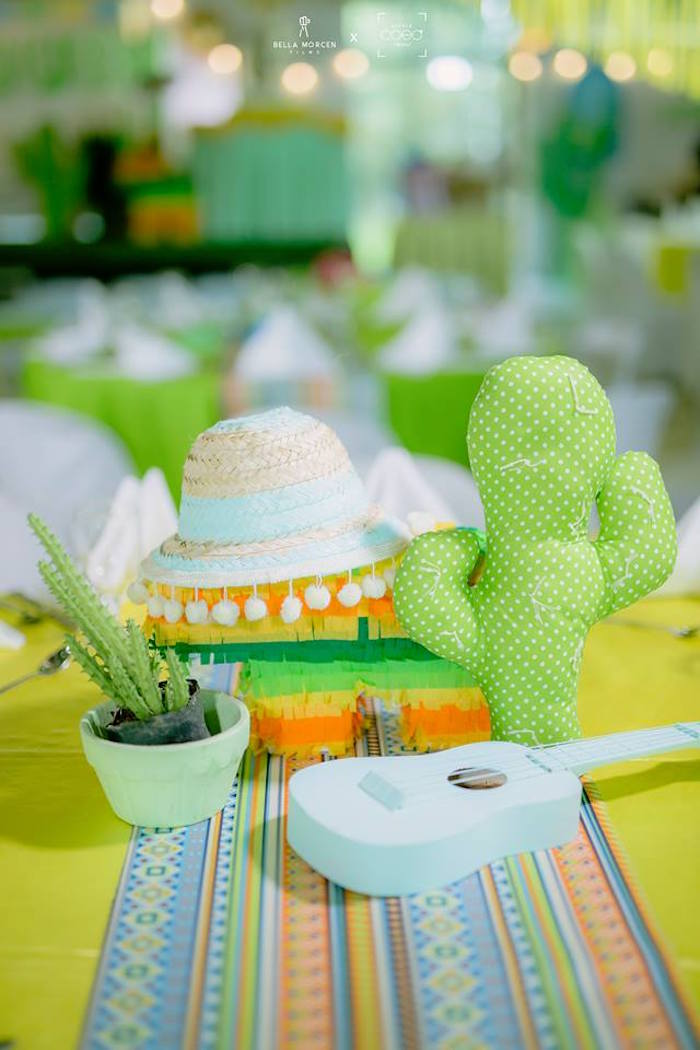 Guest table centerpieces from a Mexican Birthday Fiesta on Kara's Party Ideas | KarasPartyIdeas.com
