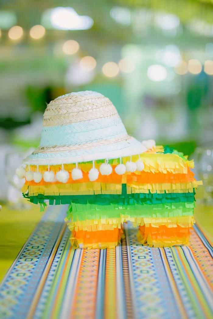 Pinata table centerpiece wearing a sombrero from a Mexican Birthday Fiesta on Kara's Party Ideas | KarasPartyIdeas.com (5)