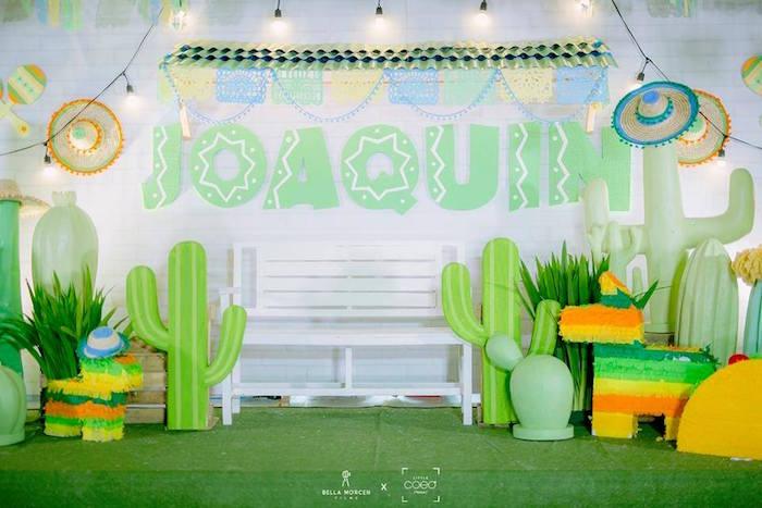 Photobooth + backdrop from a Mexican Birthday Fiesta on Kara's Party Ideas | KarasPartyIdeas.com
