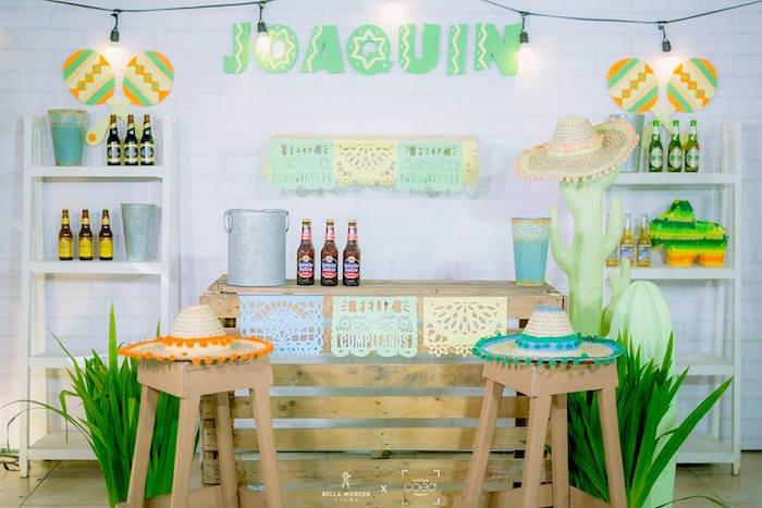 Beverage bar from a Mexican Birthday Fiesta on Kara's Party Ideas | KarasPartyIdeas.com (22)