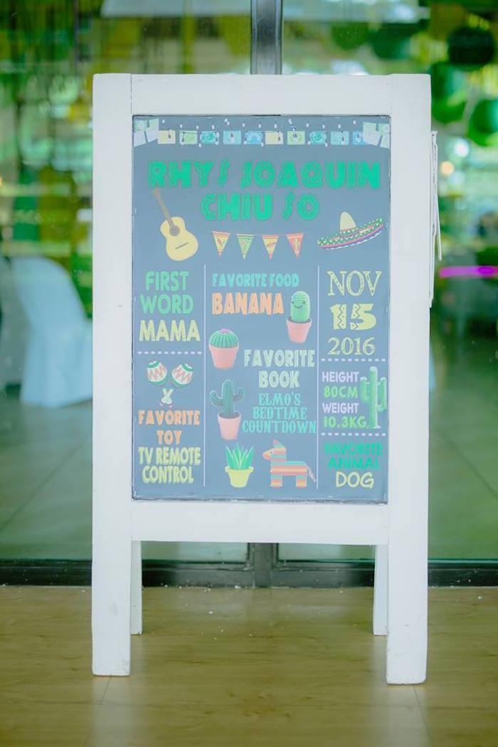Chalkboard milestone easel from a Mexican Birthday Fiesta on Kara's Party Ideas | KarasPartyIdeas.com (21)