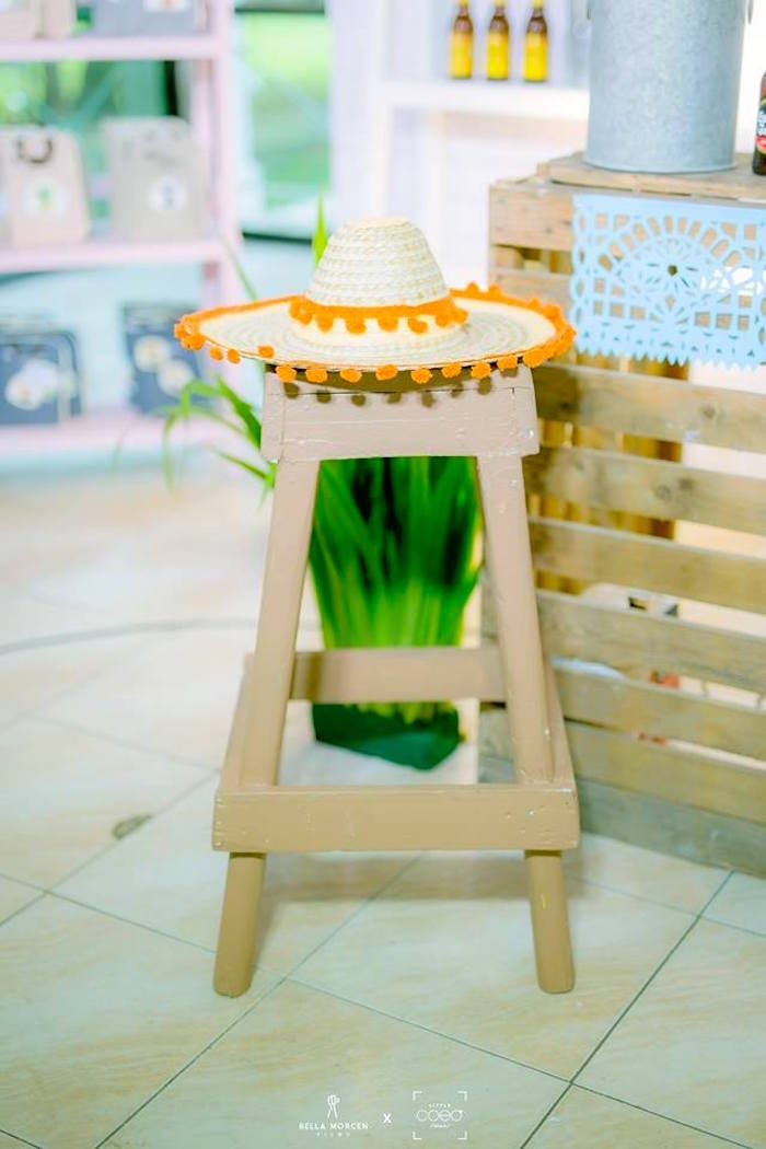 Sombrero-topped stool from a Mexican Birthday Fiesta on Kara's Party Ideas | KarasPartyIdeas.com (18)