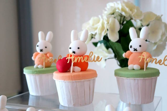 Miffy Bunny Cupcakes from a Miffy Bunny Birthday Party on Kara's Party Ideas | KarasPartyIdeas.com (9)