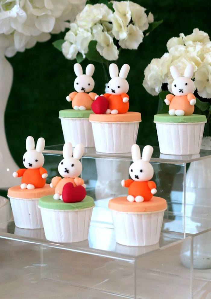 Miffy Bunny Cupcakes from a Miffy Bunny Birthday Party on Kara's Party Ideas | KarasPartyIdeas.com (8)