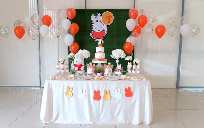 Dessert Table from a Miffy Bunny Birthday Party on Kara's Party Ideas | KarasPartyIdeas.com (7)