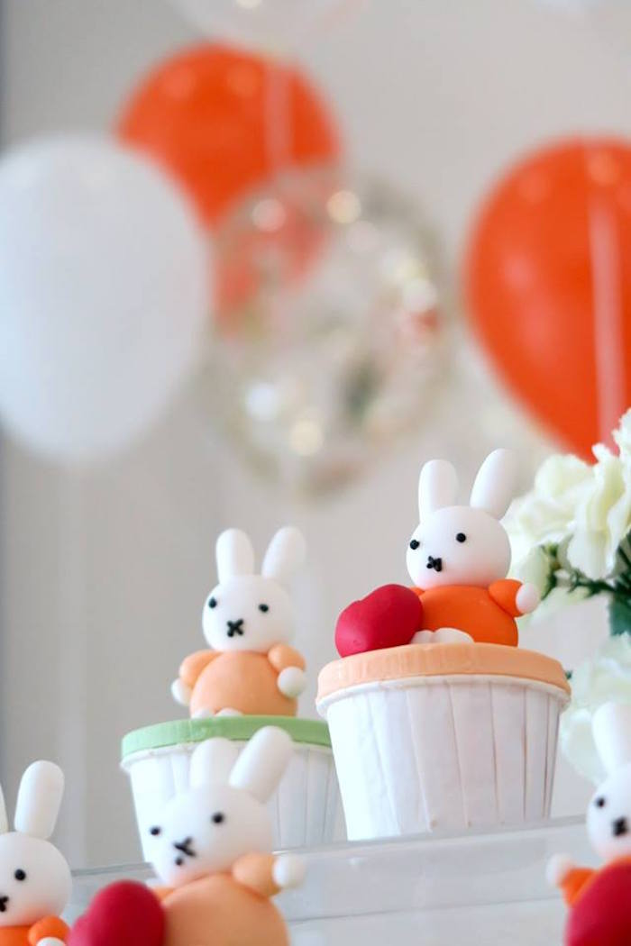Miffy Bunny Cupcakes from a Miffy Bunny Birthday Party on Kara's Party Ideas | KarasPartyIdeas.com (18)