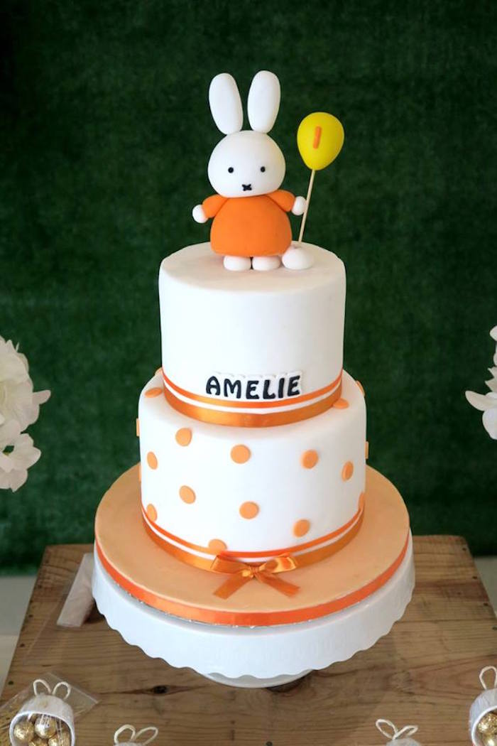 Miffy Bunny Cake from a Miffy Bunny Birthday Party on Kara's Party Ideas | KarasPartyIdeas.com (17)