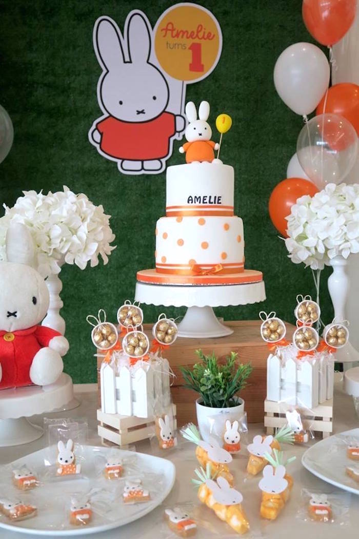 Cakescape from a Miffy Bunny Birthday Party on Kara's Party Ideas | KarasPartyIdeas.com (16)