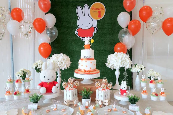 Dessert Table from a Miffy Bunny Birthday Party on Kara's Party Ideas | KarasPartyIdeas.com (13)
