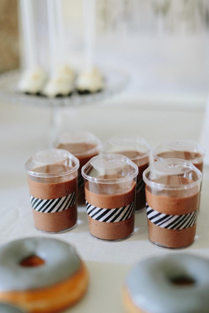 Dessert cups from a Modern Monochromatic Batman Party on Kara's Party Ideas | KarasPartyIdeas.com (16)