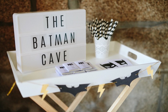 Batman party table from a Modern Monochromatic Batman Party on Kara's Party Ideas | KarasPartyIdeas.com (10)