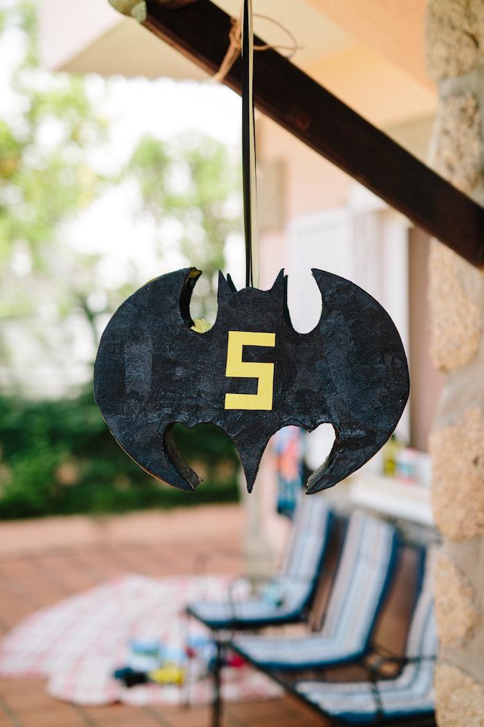 Batman pinata from a Modern Monochromatic Batman Party on Kara's Party Ideas | KarasPartyIdeas.com (8)