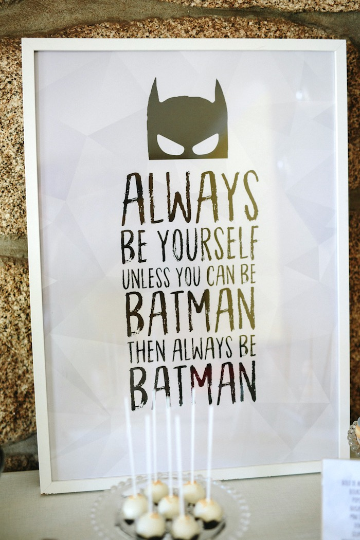 Monochromatic Batman Sign from a Modern Monochromatic Batman Party on Kara's Party Ideas | KarasPartyIdeas.com (25)