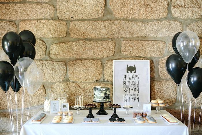 Batman dessert table from a Modern Monochromatic Batman Party on Kara's Party Ideas | KarasPartyIdeas.com (24)