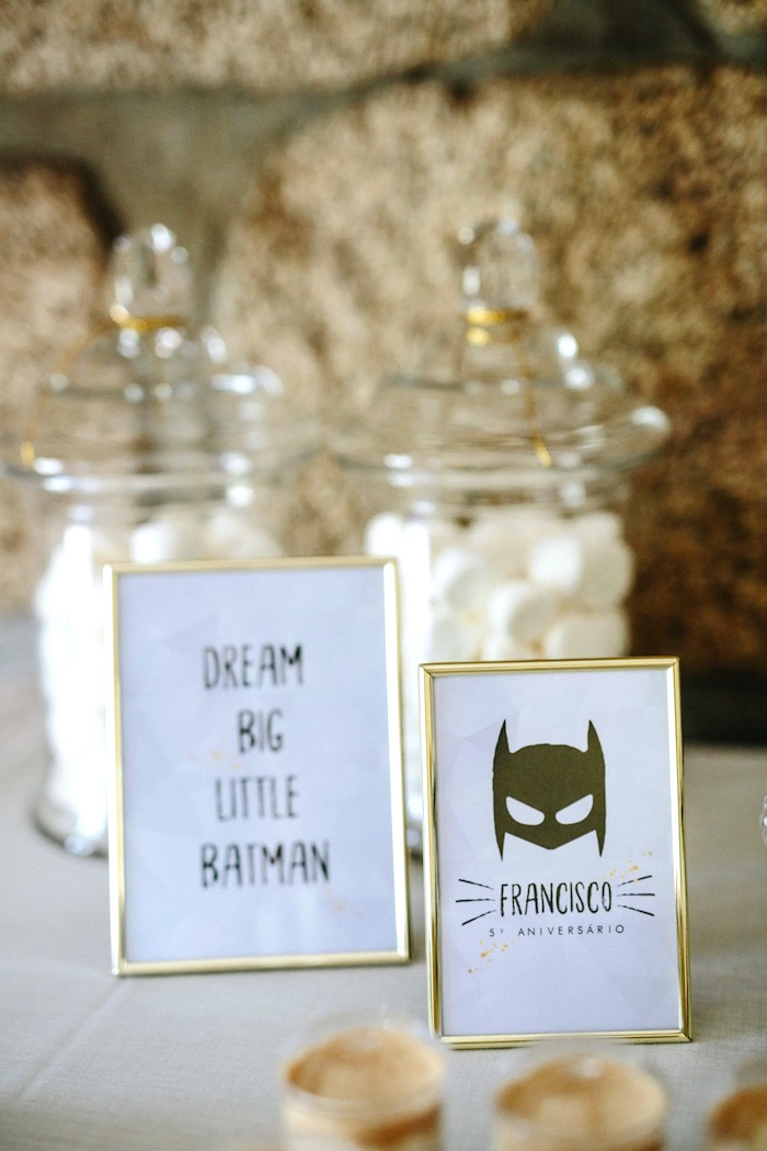 Monochromatic Batman Signage from a Modern Monochromatic Batman Party on Kara's Party Ideas | KarasPartyIdeas.com (21)