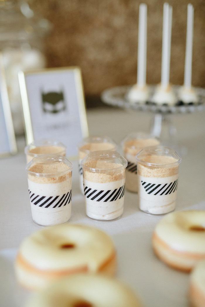 Dessert cups from a Modern Monochromatic Batman Party on Kara's Party Ideas | KarasPartyIdeas.com (17)